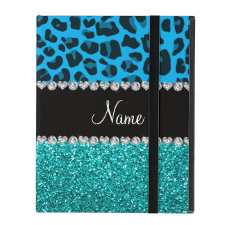 Name sky blue leopard turquoise glitter iPad cover