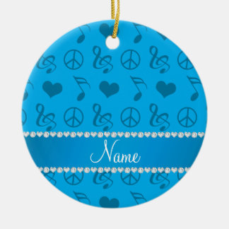 Name sky blue music notes hearts peace sign ceramic ornament