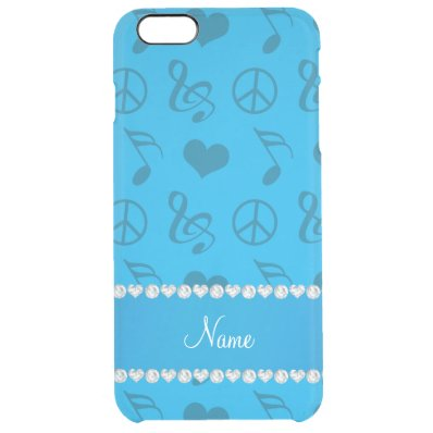 Name sky blue music notes hearts peace sign clear iPhone 6 plus case