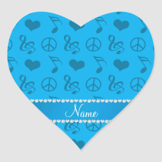 Name sky blue music notes hearts peace sign heart sticker