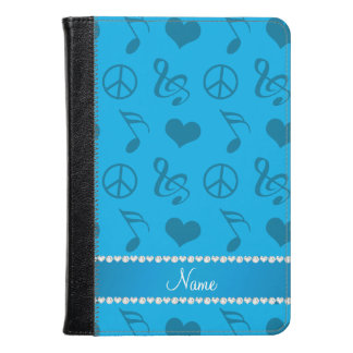 Name sky blue music notes hearts peace sign kindle case