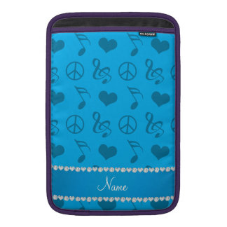 Name sky blue music notes hearts peace sign sleeves for MacBook air