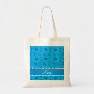 Name sky blue music notes hearts peace sign tote bag