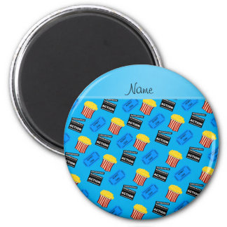 Name sky blue popcorn movie ticket action sign 2 inch round magnet
