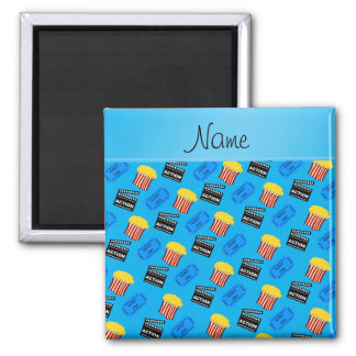 Name sky blue popcorn movie ticket action sign 2 inch square magnet