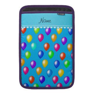 Name sky blue rainbow birthday balloons MacBook sleeve