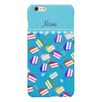 Name sky blue rainbow cakes balloons swirls glossy iPhone 6 plus case
