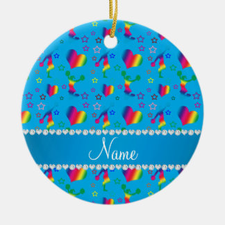 Name sky blue rainbow cheerleading hearts stars ceramic ornament