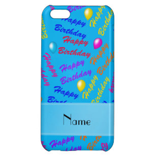 Sky Blue Happy Birthday Iphone Cases Covers Zazzle