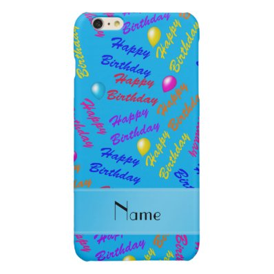 Name sky blue rainbow happy birthday balloons glossy iPhone 6 plus case