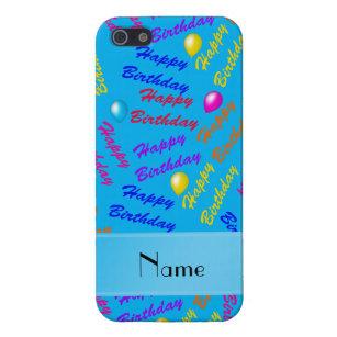 Name Sky Blue Rainbow Happy Birthday Balloons IPhone SE 5 5s Cover