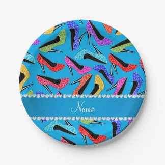 Name sky blue rainbow leopard high heels 7 inch paper plate