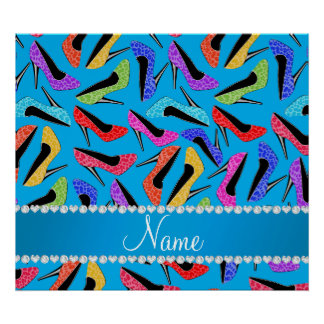 Name sky blue rainbow leopard high heels poster
