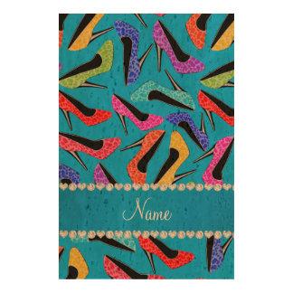 Name sky blue rainbow leopard high heels photo cork paper