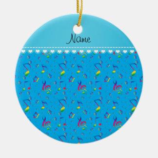 Name sky blue rainbow music notes stars ceramic ornament