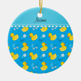 Name sky blue rubberduck baby carriage ceramic ornament