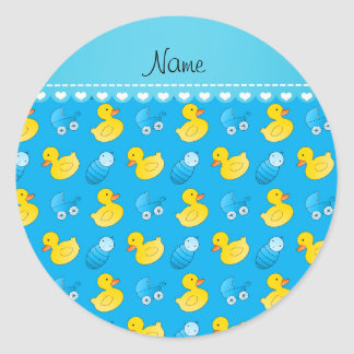 Name sky blue rubberduck baby carriage classic round sticker