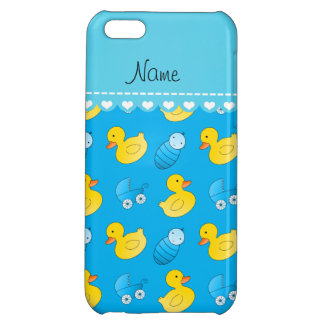 Name sky blue rubberduck baby carriage iPhone 5C cover