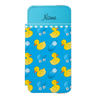 Name sky blue rubberduck baby carriage iPhone SE/5/5s wallet case