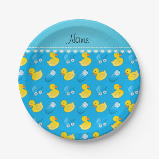Name sky blue rubberduck baby carriage paper plate