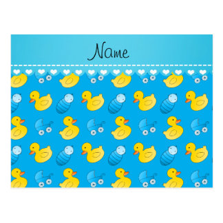 Name sky blue rubberduck baby carriage postcard