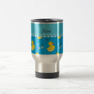 Name sky blue rubberduck baby carriage travel mug