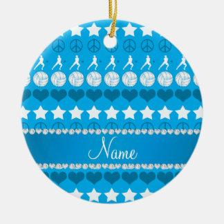 Name sky blue volleyballs stars hearts peace ceramic ornament