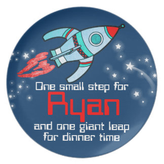 Name space rocket one step boys navy kids plate