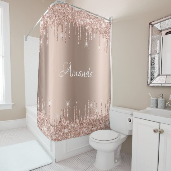 Name Sparkly Glitter Drips Pink Rose Blush Bridal Shower Curtain