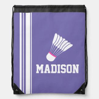 Name sports badminton shuttle drawstring bag