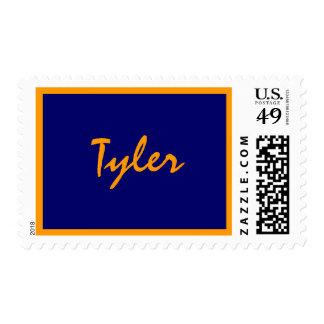 Name stamp, Bar Mitzvah, navy, bro... - Customized Postage Stamp