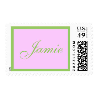 Name stamp pink and green