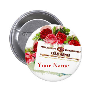 Name Tag Badge Roses Telegram Wedding Party or Any Pinback Button