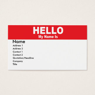 Name Tag Business Card