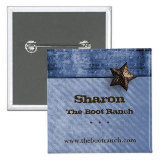 Name Tag Button Texas Star Denim Blue
