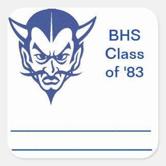 Name Tag, Class Reunion Square Sticker, Bremen Square Sticker