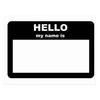 Name tag - HELLO my name is Postcard