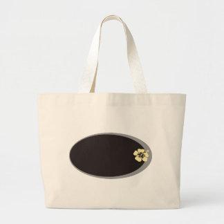 Name tag hibiscus design tote bag