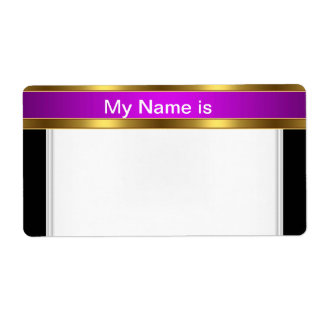 Name Tag Lable gold Purple Black
