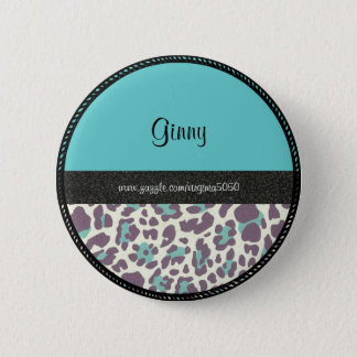 Name Tag: Leopard Print Name Template Pinback Button