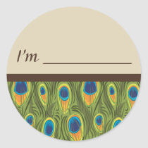 Name Tag Peacock Feathers Sticker