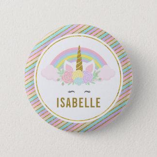 Name Tag Rainbow Unicorn Party Pin