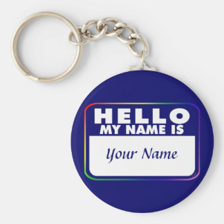 Name Tag Template Basic Round Button Keychain