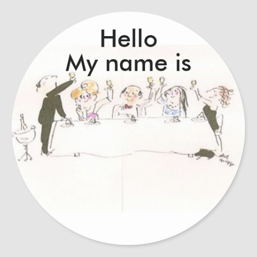 Name Tags for Party Round Sticker