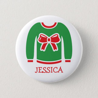 Name Tags Ugly Christmas Sweater Party Button
