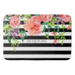 Name Template Bathroom Modern Floral Stripe Black Bath Mat