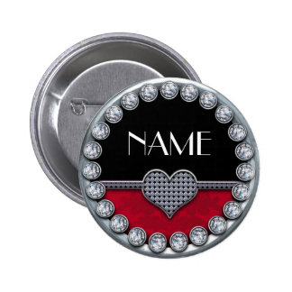 name template button with silver diamonds heart