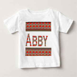 Name TEXT: ABBY  Elegant Red  Gold Border LOWPRICE Baby T-Shirt