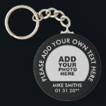 "name, text & special date, photo black keychain<br><div class=""desc"">A simple item to personalize with your own photo ( or your pet,  logo or any other image),  name,  text and special date</div>"