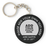 name, text &amp; special date, photo black keychain<br><div class='desc'>A simple item to personalize with your own photo ( or your pet,  logo or any other image),  name,  text and special date</div>